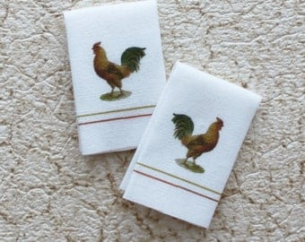Miniature Pair Rooster Kitchen Tea Towels in 1:12 Scale for Dollhouse