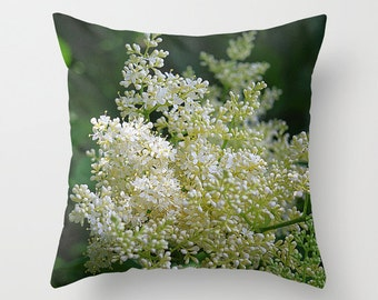 White lilac throw pillow cover, cream, old fashioned cottage garden, flower, gift for gardener,  floral home decor, floral pillow