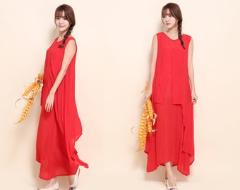 Multi-layered Asymmetrical Dress/ Silk Two Layered Long Dress / 24 Colors/ RAMIES