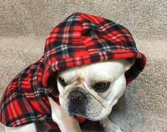 French Bulldog Frenchie Red PlaidFleece Hoodie