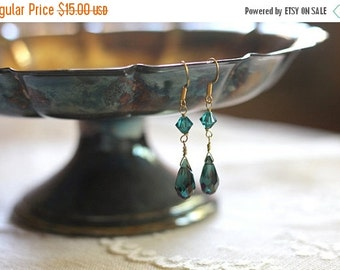 50% OFF Sparkling teal green blue crystal and glass bead tear drop earrings, dangle earrings, gold plate, Clear Waters