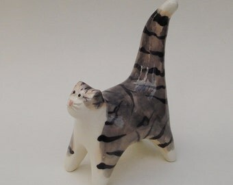 handmade ceramic gray and white tabby cat - miniature figurine