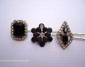 Vintage earrings hair bobbies - Minimalist jet onyx ebony black silver rhinestones gem flower art deco jeweled decorative hair accessories