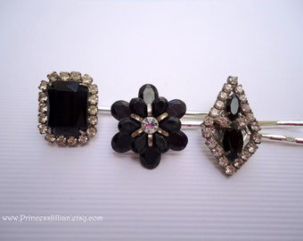 Vintage earrings hair bobbies - Minimalist jet onyx ebony black silver rhinestones gem flower art deco jeweled decorative hair accessories