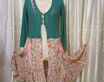 Teal Sweater Chiffon, delicate, feminine, upcycled clothing, refashioned sweater, long altered sweater, pink chiffon, MEDIUM