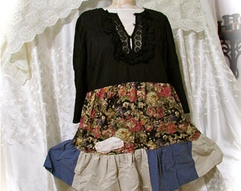 Boho Patchwork Blouse, baggy loose flares out, wide open sleeves, black shirt with earth tone colors, patchwork top, LARGE