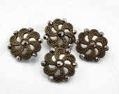Gorgeous Vintage Victorian Ornate Brass Button Set, 16mm, Loop Shank, 4pc/set