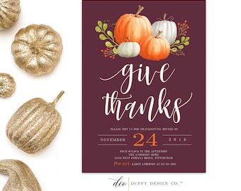 Thanksgiving Dinner Invitation, Thanksgiving Invitation, Thanksgiving Feast invite, Give Thanks Invitation Thanksgiving Printable 5x7 purple