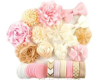 Headband Kit Light Pink, Beige, Ivory  - Makes 12 Headbands - Baby Shower Station, Baby Headbands, DIY Headbands, Headband Making Kit