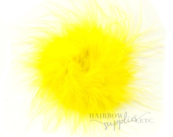 Yellow Marabou Puffs 3 inch - Yellow Marabou Puff, Yellow Marabou Feather, Yellow Marabou Feather Puff, Yellow Hair Feather, Yellow Feather
