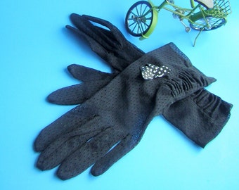 Sheer Black Gloves Vintage 40s 50s SHIRRED & SHEER - Small - Summer Clearance