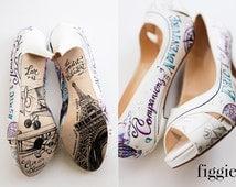 CUSTOM Hand-Painted Travel Themed Hot Air Balloon Bridal Shoes