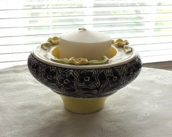 Bowl, Handmade in Yellow and Black with Applique Flowers and Hand Carved Flowers