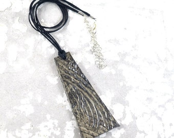 Ceramic Pendant Swirling Textured Necklace Black Gray Tones Handmade Statement Ceramic Jewellery on Waxed Cotton Cord