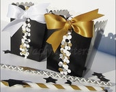 Black & Gold, Party Favors, Wedding Popcorn Boxes, Glitter Confetti Dots, New Year's Eve Decor, 50th Anniversary Party, Dessert Table Supply
