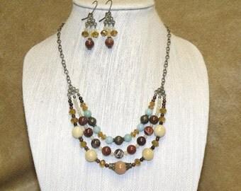 Bohemian Triple Strand Mixed Bead Necklace Chandelier Earrings Boho Hippie Chic Indie Jewelry