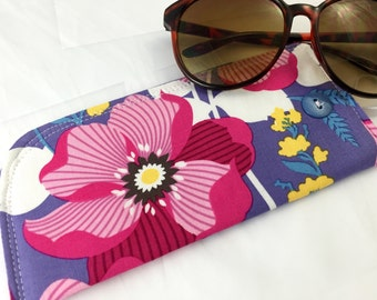 Fabric Eyeglass Case - Red Sunglass Case - Reading Glasses Case Red Eyeglass Case Glasses Case - Joel Dewberry Atrium Monarch in Fuschia