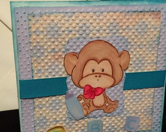 Baby boy card, monkey, birthday or baby showers blue and green tones shabby chic card handmade layered