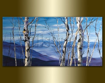 Birch Tree Forest Landscape Painting Oil on Canvas Textured Palette Knife Modern Original Art Seasons 20X40 by Willson Lau