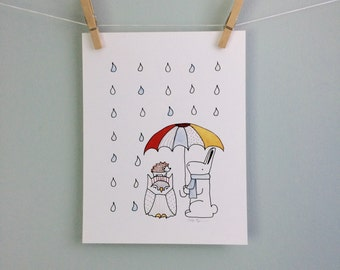 Animals with Umbrella Wall Art Bunny Owl Hedgehog Print Children Illustration Raindrops Picture Nursery Art Cute Baby Gift Kid's Room Decor