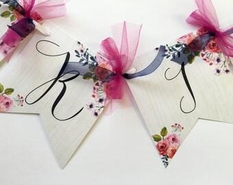 Bridal Shower Banner, Floral Banner, Flower Banner, Bridal Shower Flower Banner, Bride to Be Banner, Boho Chic Banner, Bridal Shower Bunting