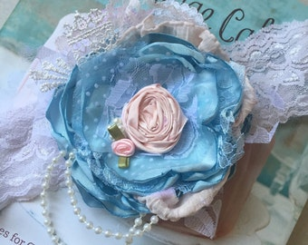 Shabby chic flower headband cozette couture flower headband