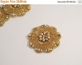 ON SALE Round Gold and Rhinestone Beaded Applique--One Piece