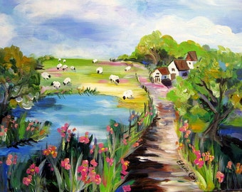 Farm landscape Original painting 18 x 24 Art by Elaine Cory