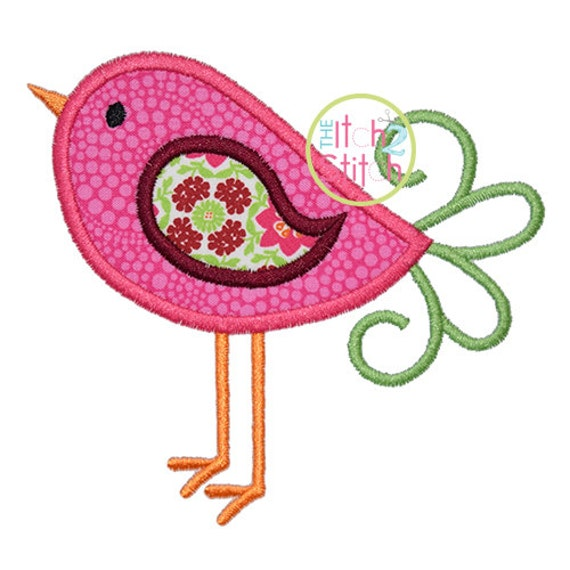 Bird Applique Design in 4x4, 5x7 & 6x10 INSTANT DOWNLOAD now available