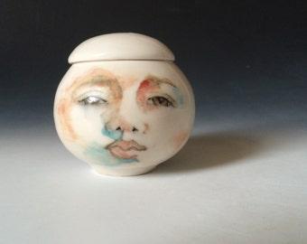 White Porcelain Lidded Jar, Trinket Pot with Hand Painted Face , Collectible Trinket Jar or Candleholder