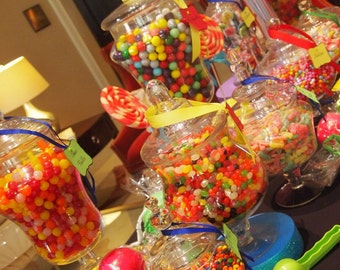 Candy Jars to go.. Candy Station, Candy Displays, Sweet Sixteen, Mitzvah, Birthday, Party, Baby Shower, Bridal Shower, Wedding