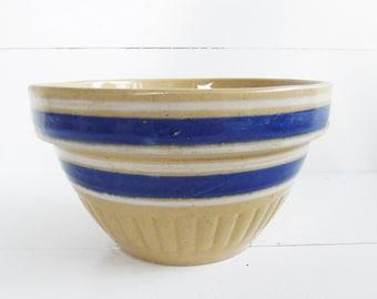 Antique Stoneware Yellowware Blue Band Bowl, Kitchenware Mixing Bowl
