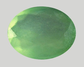 SERPENTINE  (22055) - 11 x 9mm Light Green Oval Serpentine - Faceted