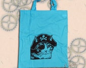 Pirate Cat Bag Hand Printed Tote Shopping Blue