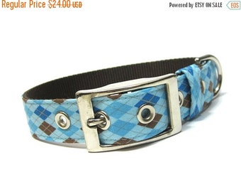 ON SALE Blue Argyle Dog Collar with Metal Buckle
