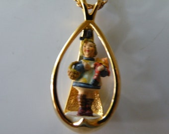 Goebel miniatures Hummel sculpture by Olszewski sterling silver gold filled pendant with chain.
