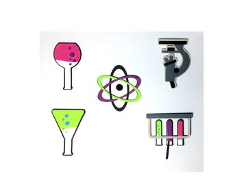 Set of 5 Die Cuts: Chemistry Set - Microscope Beakers Atomic Science Chemical Laboratory Test Tubes Chem Lab Neon Colors Scrapbook Card Atom