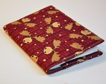 Passport Cover Sleeve Case Holder  Cotton Moose on the Loose Red and tan plaid  with small moose  Canada Eh!