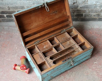 Vintage Merchant Chest Indian Reclaimed Bright Blue Chest Jewelry Box Small Trunk Farm Chic Industrial Storage