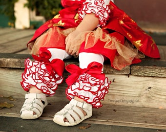 White and Red Christmas Leggings with Full Ruffles / Baby Girls Leggings---NB-18M
