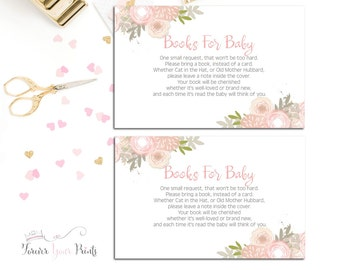 Books For Baby Request Cards, Baby Shower Book Request, Floral Watercolor Baby Shower Insert Cards, Girls Baby Shower, Bring A Book Card