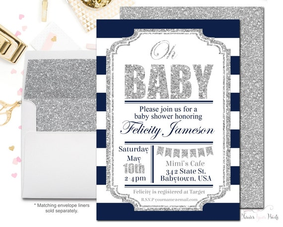 Navy and Silver Baby Shower Invitation, Baby Shower Invitation Boy, Printable Baby Shower Invite, Glitter Baby Shower, Silver Baby