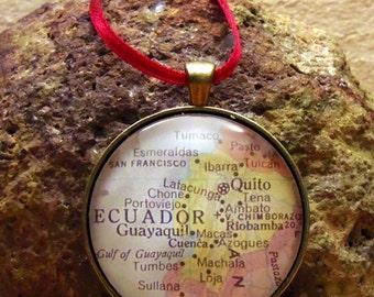 Ecuador Map Christmas Ornament,  Keep a memory Alive / HONEYMOON Gift / Wedding Map Gift / Travel Tree Ornament / Corporate gift
