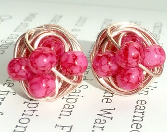 Pink Marble and Rose Gold Studs - Dark/Light Pink Marble beads and rose gold wire- VDazzled Marble glass bead wire wrapped stud earrings
