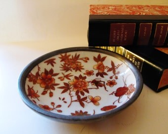 Vintage Decorative Floral and Pewter Catchall, Coral Flowers, Grasshopper, Cricket, Chinoiserie Decor, Japanese Porcelain