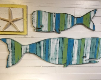 Baby Whale Sign Beach House White Striped Sea Glass Colours Weathered Wood Wall Art by CastawaysHall - Ready to Ship
