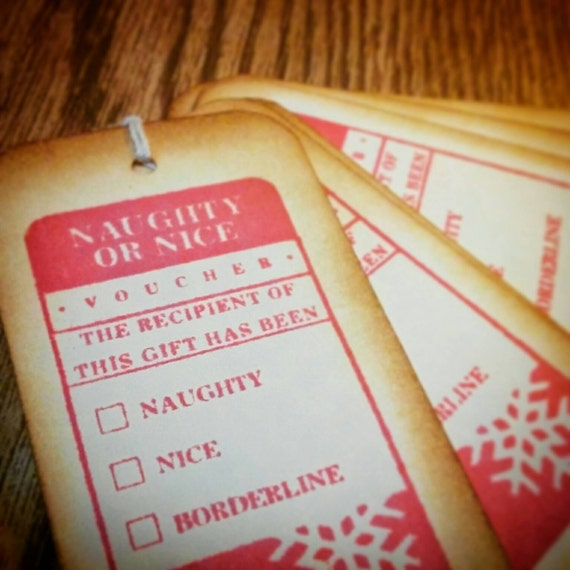 Naughty Or Nice Christmas Tags in RED ... Santa, Gift Tag, Vintage Look