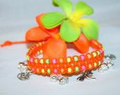 hemp anklet with charms and gypsy bells, hippie, macrame, music festivals, lotus flower, dragonfly, neon, spring, summer