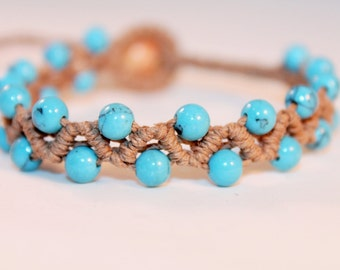 micromacrame hemp bracelet with turquoise beads, micromacrame, macrame, hippie, music festivals, natural, meditation