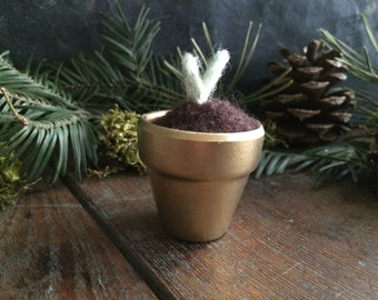 Felted wool seedling in a small gold terracotta pot, dollhouse miniature succulent, faux mini cactus, teacher gift, mothers day gift